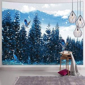Blue Nature Tapestry Forest Snow Tree Bird Winter
